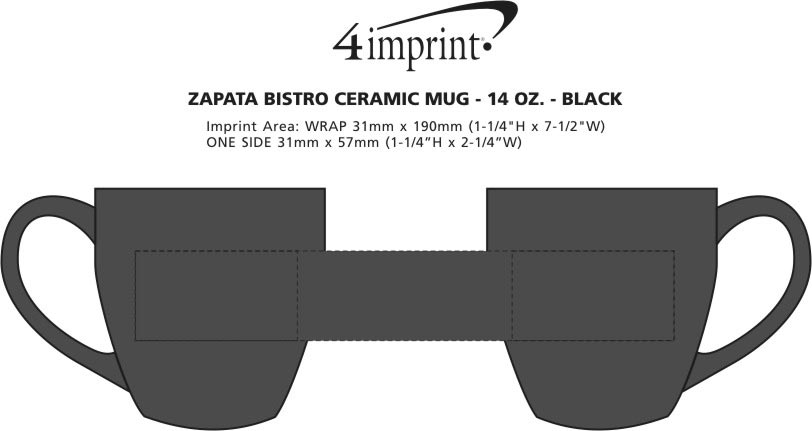 Imprint Area of Zapata Bistro Ceramic Mug - 14 oz. - Black