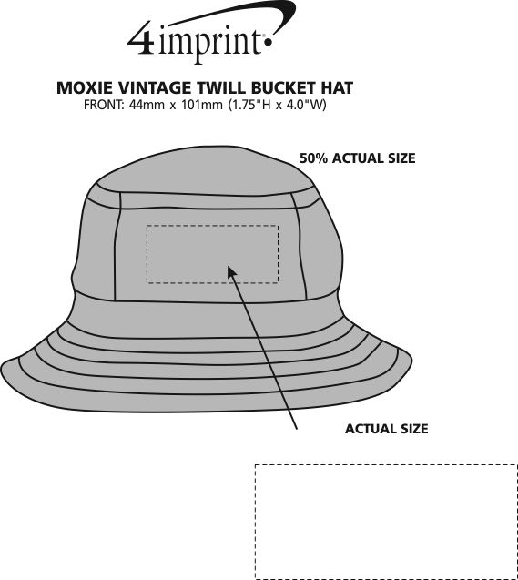 Imprint Area of Moxie Vintage Twill Bucket Hat