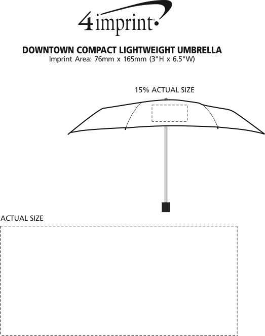 "Imprint Area of Downtown Compact Lightweight Umbrella - 36"" Arc"