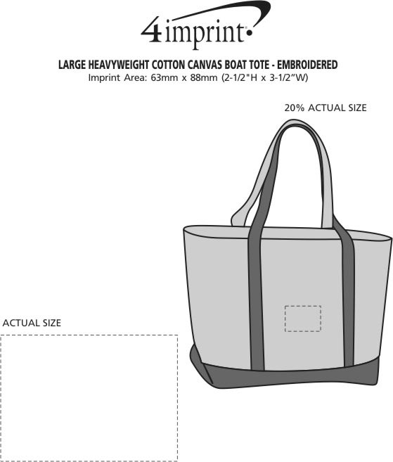 Imprint Area of Large Heavyweight Cotton Canvas Boat Tote - Embroidered