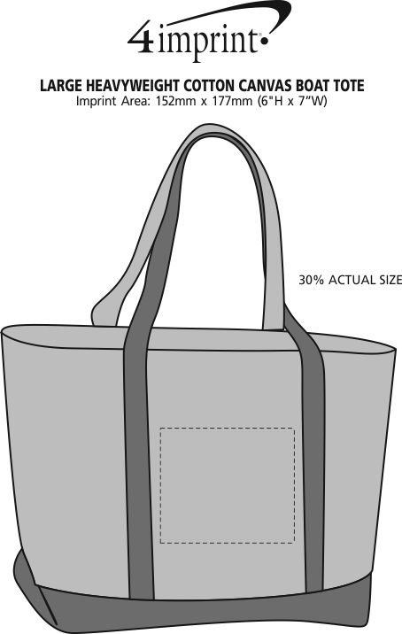 Imprint Area of Large Heavyweight Cotton Canvas Boat Tote