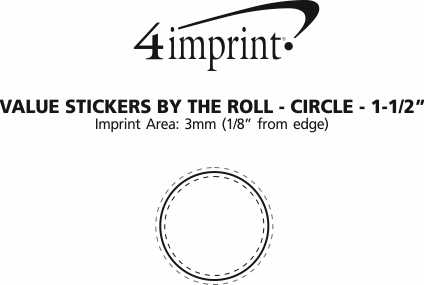 """Imprint Area of Value Stickers by the Roll - Circle - 1-1/2"""""""