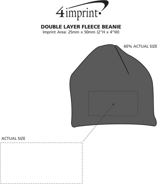 Imprint Area of Double Layer Fleece Beanie