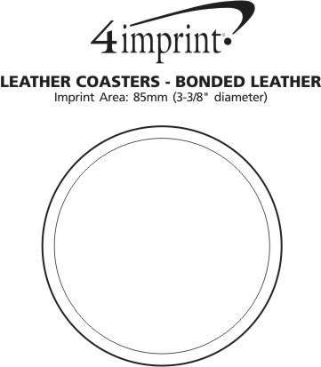 Imprint Area of Leather Coasters - Bonded Leather