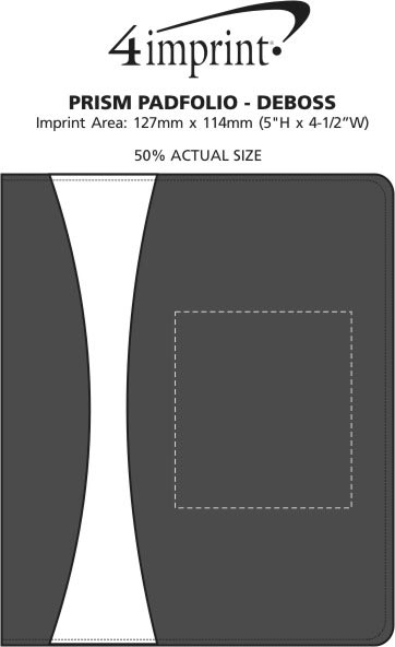 Imprint Area of Prism Padfolio with Notepad - Debossed