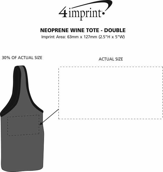 Imprint Area of Neoprene Wine Tote - Double