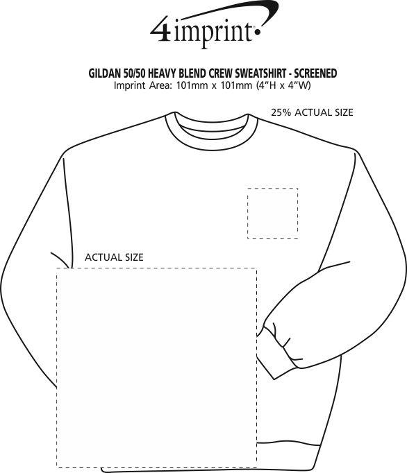 Imprint Area of Gildan 50/50 Heavy Blend Crew Sweatshirt - Screen