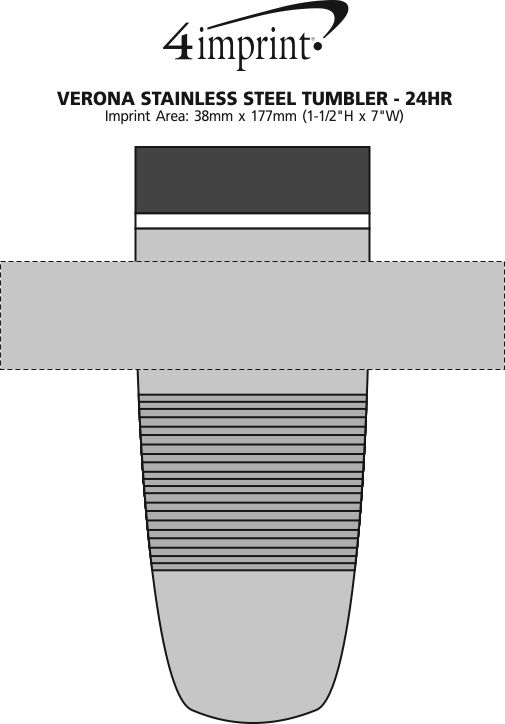 Imprint Area of Verona Stainless Steel Tumbler - 16 oz. - 24 hr