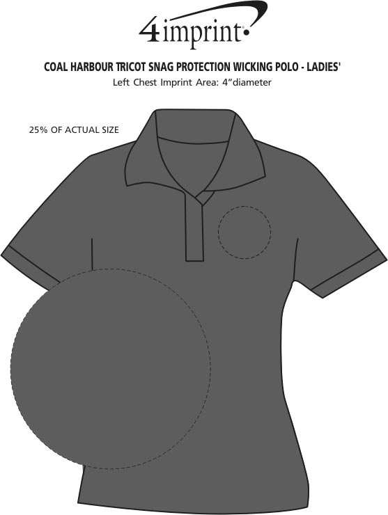 Imprint Area of Coal Harbour Tricot Snag Protection Wicking Polo - Ladies'