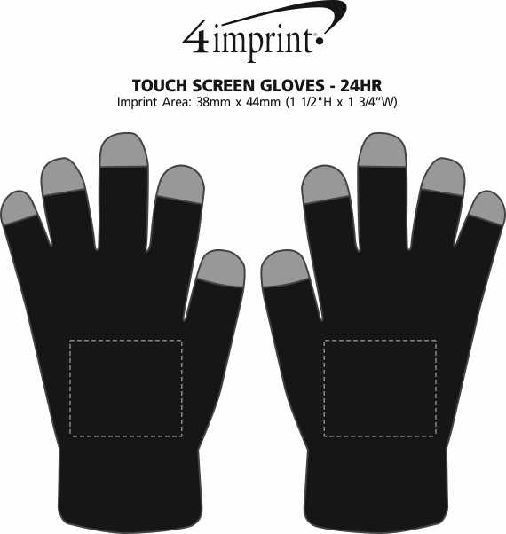 Imprint Area of Touch Screen Gloves - 24 hr