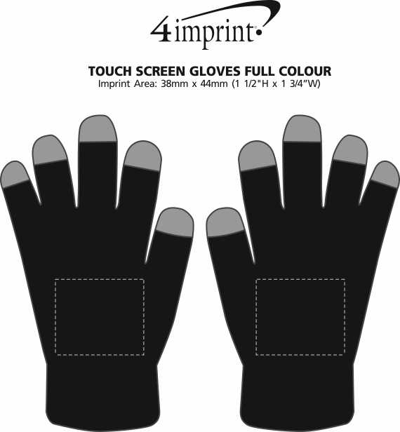 Imprint Area of Touch Screen Gloves - Full Colour