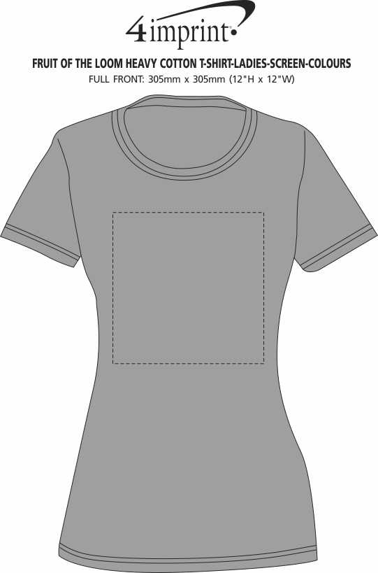 Imprint Area of Fruit of the Loom HD T-Shirt - Ladies - Screen - Colours