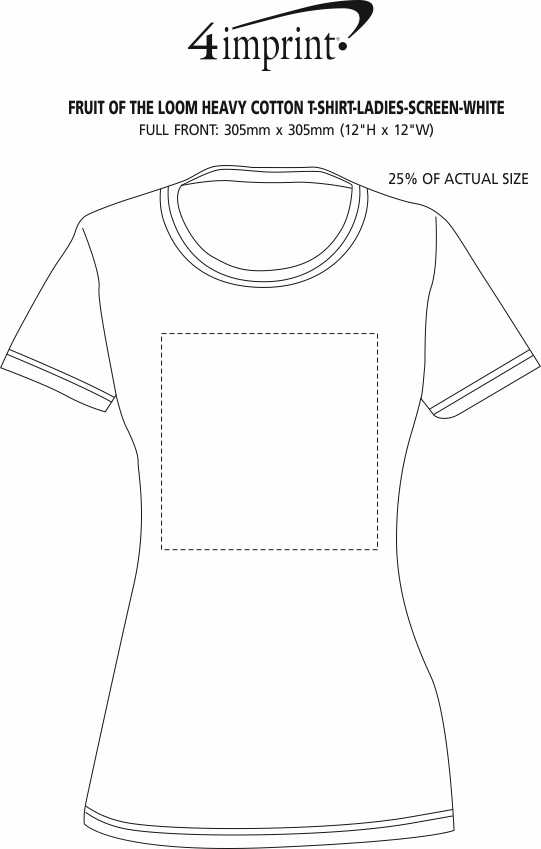 Imprint Area of Fruit of the Loom HD T-Shirt - Ladies' - Screen - White