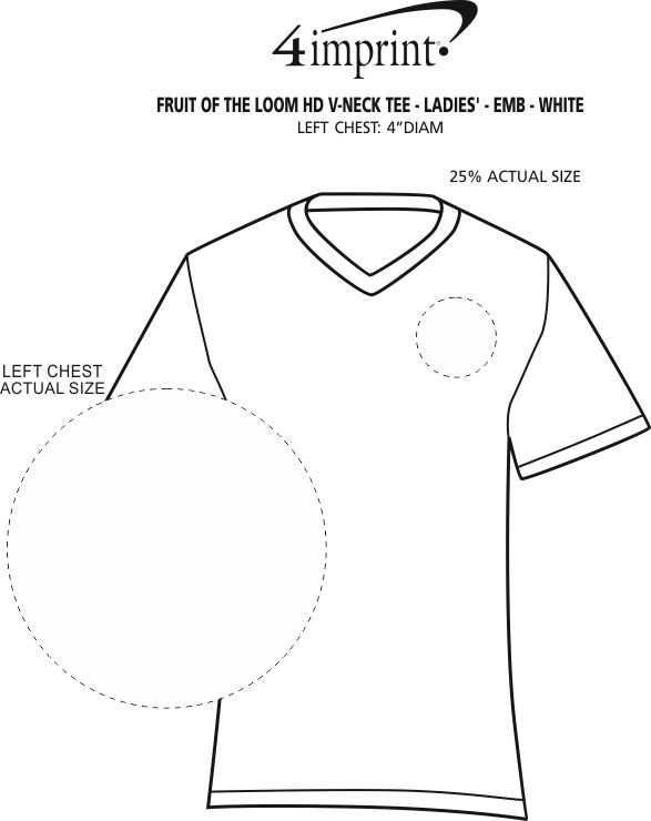 Imprint Area of Fruit of the Loom HD V-Neck Tee - Ladies' - Embroidered - White