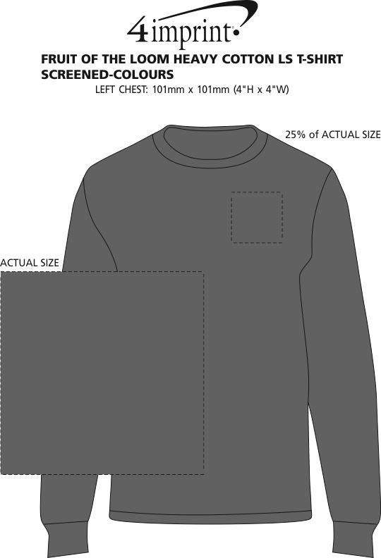 Imprint Area of Fruit of the Loom HD LS T-Shirt - Screen - Colours