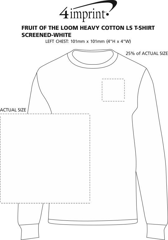 Imprint Area of Fruit of the Loom HD LS T-Shirt - Screen - White