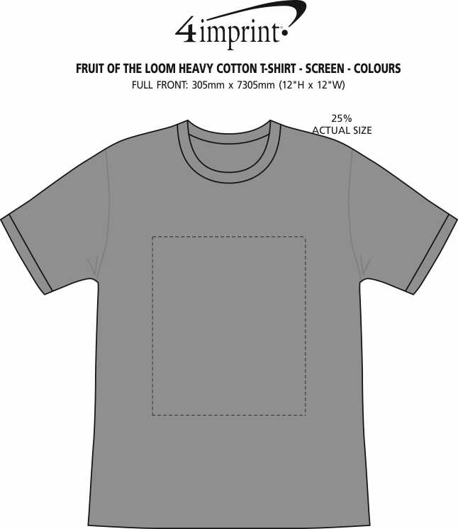 Imprint Area of Fruit of the Loom HD T-Shirt - Screen - Colours
