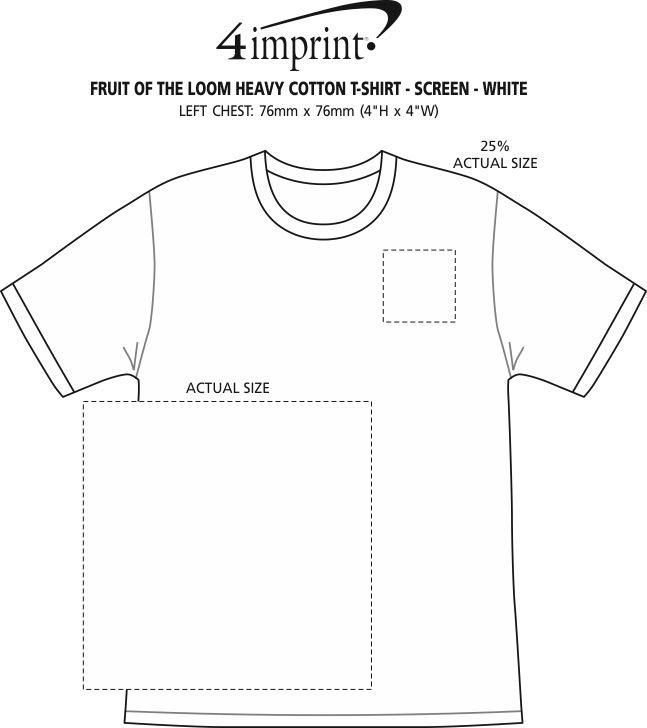 Imprint Area of Fruit of the Loom HD T-Shirt - Screen - White