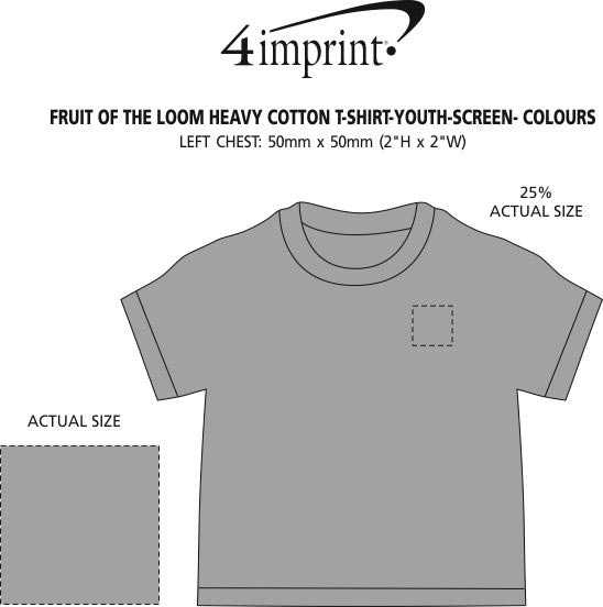 Imprint Area of Fruit of the Loom Heavy Cotton T-Shirt - Youth - Screen - Colours