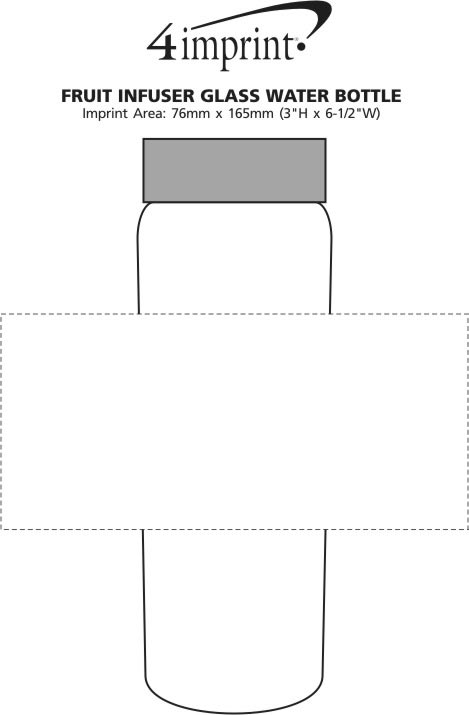 Imprint Area of Fruit Infuser Glass Water Bottle