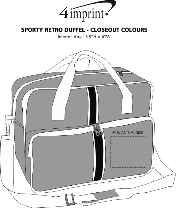 Imprint Area of Sporty Retro Duffel - Closeout Colours
