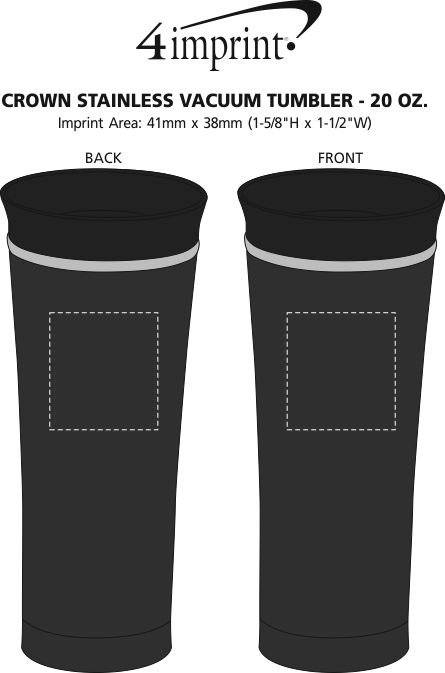 Imprint Area of Crown Stainless Vacuum Tumbler - 14 oz.