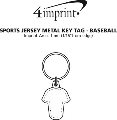 Imprint Area of Sports Jersey Metal Keychain - Baseball