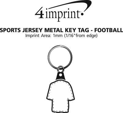 Imprint Area of Sports Jersey Metal Keychain - Football