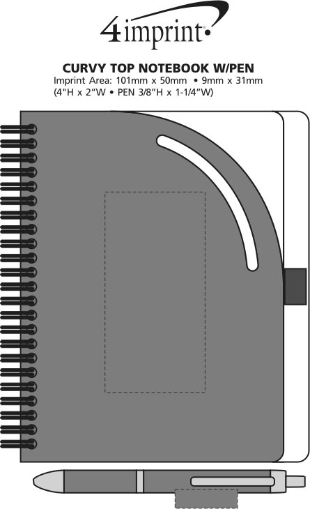 Imprint Area of Curvy Top Notebook with Pen