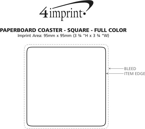 Imprint Area of Paperboard Coaster - Square - Full Colour