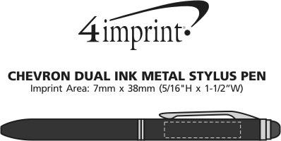 Imprint Area of Chevron Dual Ink Stylus Metal Pen