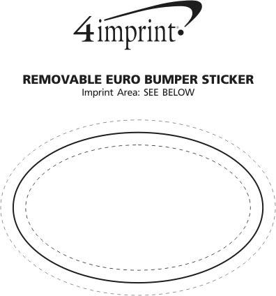 "Imprint Area of Removable Euro Bumper Sticker - 3"" x 5"""