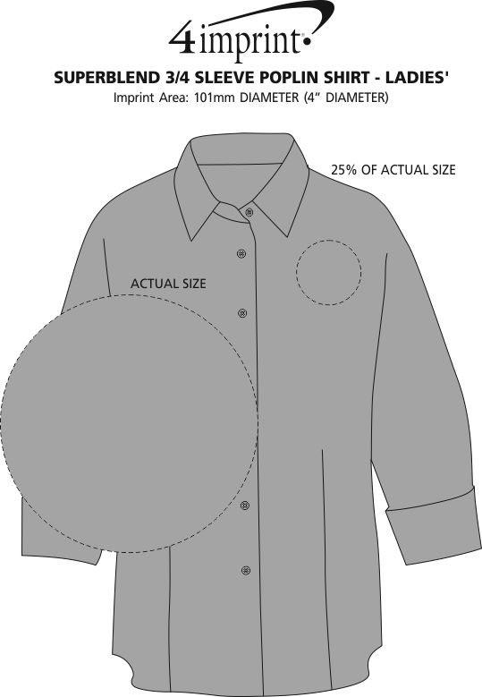 Imprint Area of Superblend 3/4 Sleeve Poplin Shirt - Ladies'