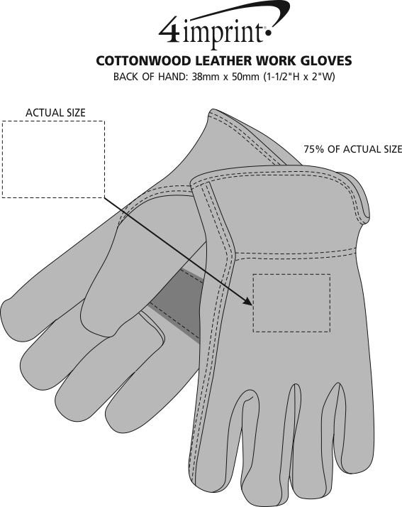 Imprint Area of Cottonwood Leather Work Gloves