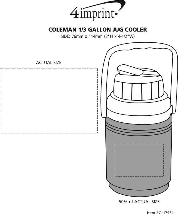 Imprint Area of Coleman 1/3 Gallon Jug Cooler