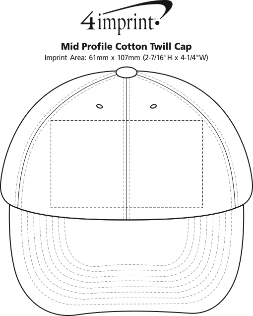 Imprint Area of Mid Profile Cotton Twill Cap