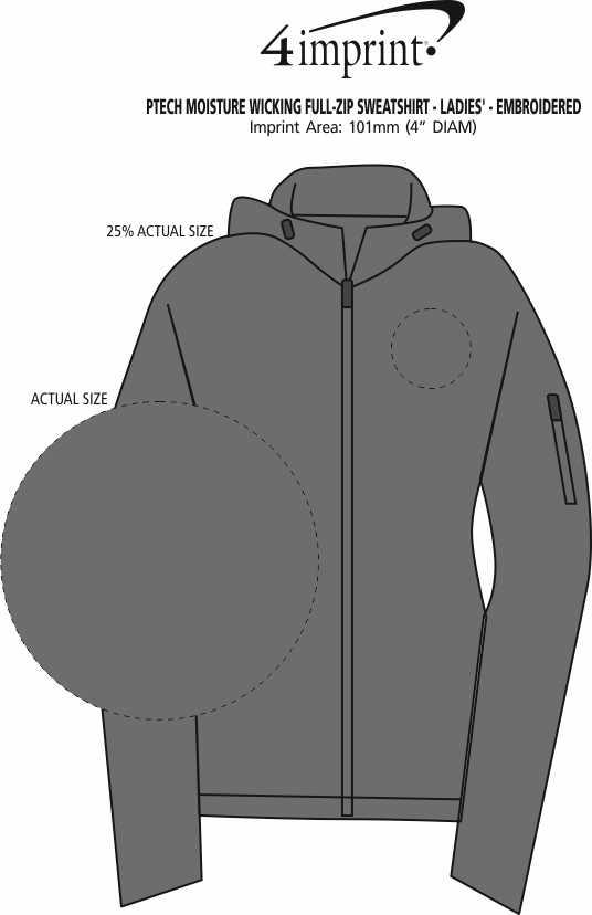 Imprint Area of PTech Moisture Wicking Full-Zip Sweatshirt - Ladies' - Embroidered