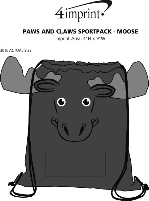 Imprint Area of Paws and Claws Sportpack - Moose
