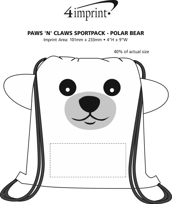 Imprint Area of Paws and Claws Sportpack - Polar Bear