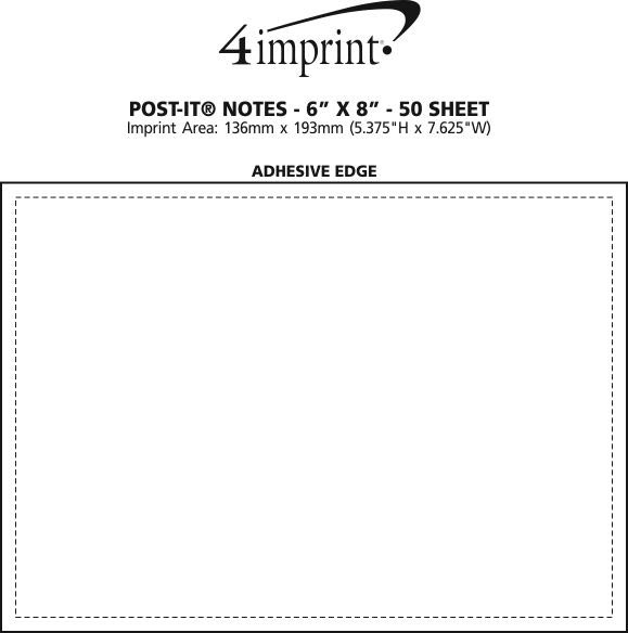 "Imprint Area of Post-it® Notes - 6"" x 8"" - 50 Sheet"