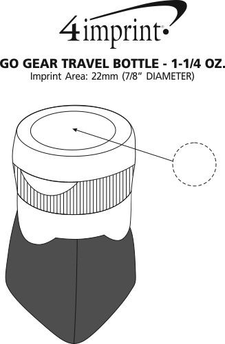 Imprint Area of Go Gear Travel Bottle - 1-1/4 oz.