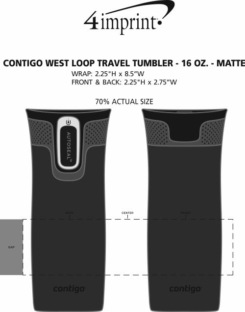 Imprint Area of Contigo West Loop Travel Tumbler - 16 oz. - Matte