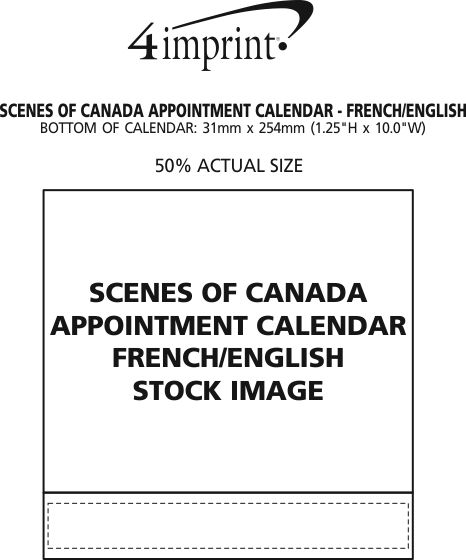 Imprint Area of Scenes of Canada Appointment Calendar - French/English