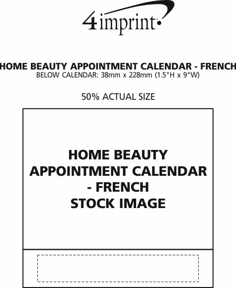 Imprint Area of Home Beauty Appointment Calendar - French/English