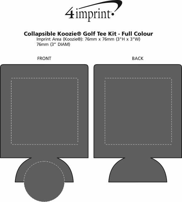 Imprint Area of Collapsible Koozie® Golf Tee Kit - Full Colour