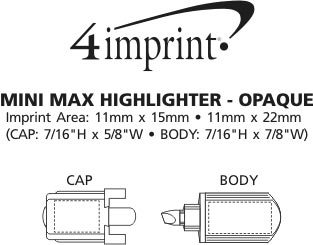 Imprint Area of Mini Max Highlighter - Opaque