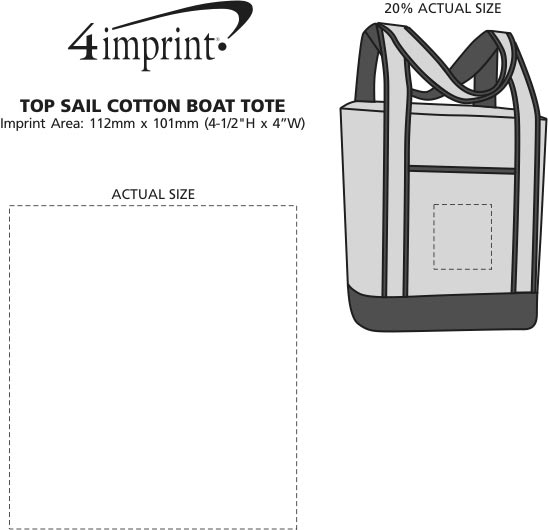 Imprint Area of Top Sail Cotton Boat Tote