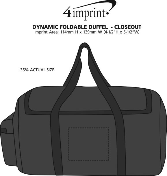 Imprint Area of Dynamic Foldable Duffel - Closeout Colours