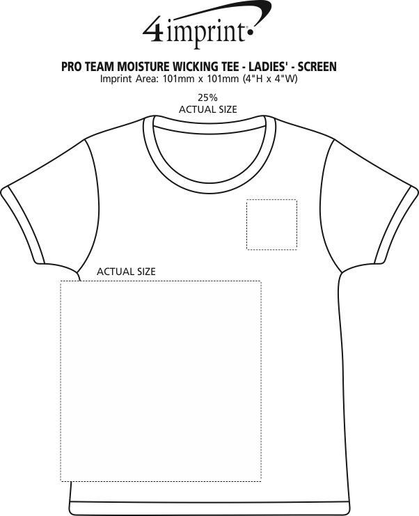 Imprint Area of Pro Team Moisture Wicking Tee - Ladies' - Screen