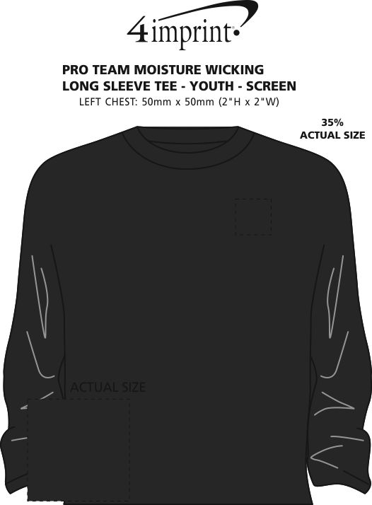 Imprint Area of Pro Team Moisture Wicking Long Sleeve Tee - Youth - Screen